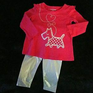 Healthtex scottie silver leggings top set